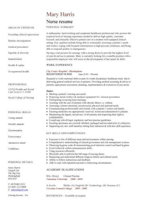 Nurse Resume Example - CV Resume Ideas