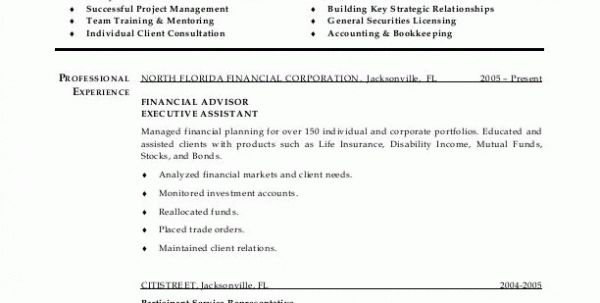 Financial Advisor Resume Sample Free Financial Advisor Assistant ...