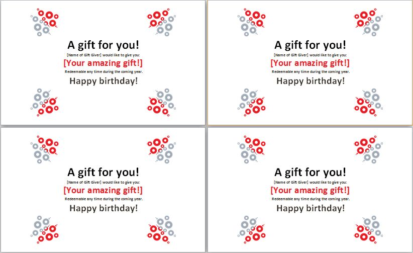 Birthday Gift Certificate Template MS Word | Word & Excel Templates