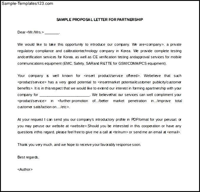 partnership letter template | Docoments Ojazlink
