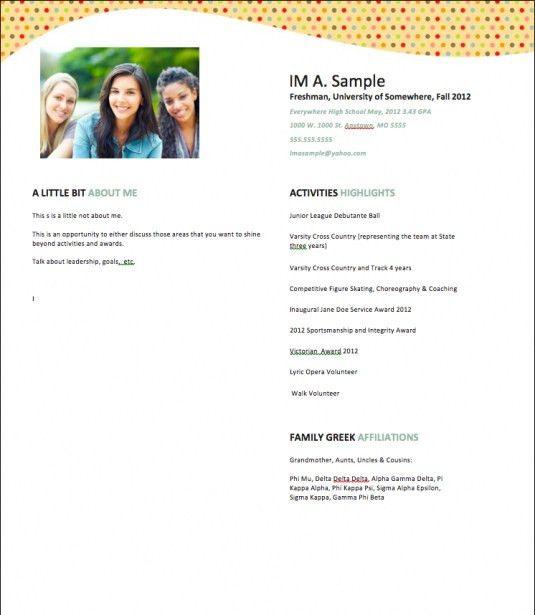 Sorority Resume Sample | jennywashere.com