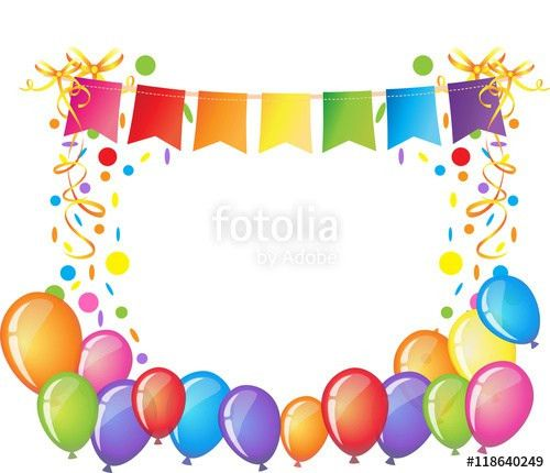 Celebration background with colorful confetti, ribbons and ...