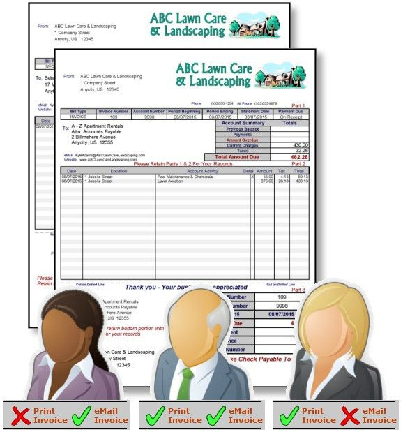 Lawn Billing Software - Invoices created for eMail & Print
