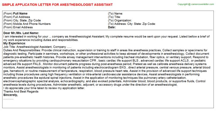 anesthesiologist cover letter anesthesiologist assistant cover