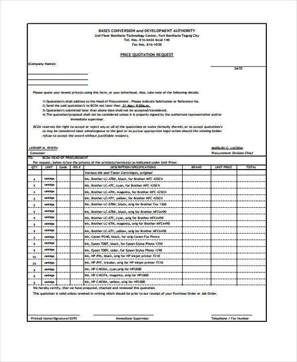 Formal Quotation Templates - 6+ Free Word, PDF Format Download ...
