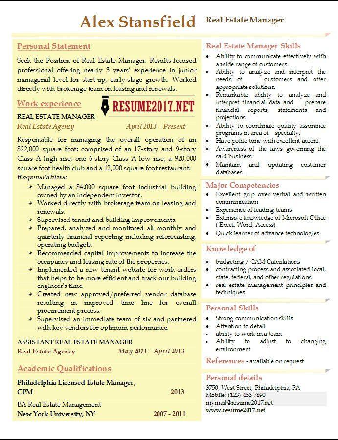real estate manager resume real estate resume samples visualcv