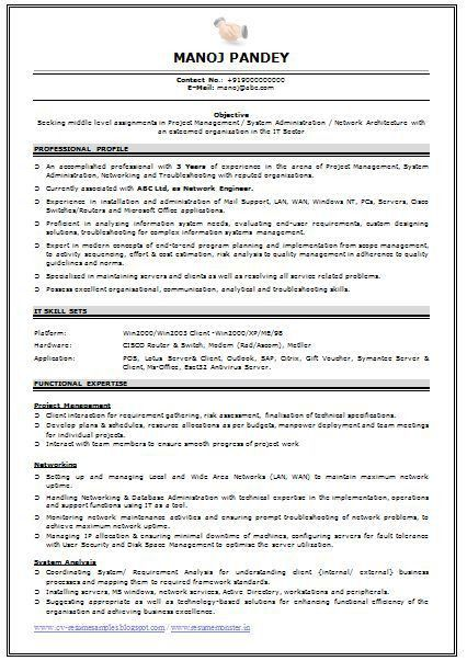 sample resume network engineer network engineer resume sample