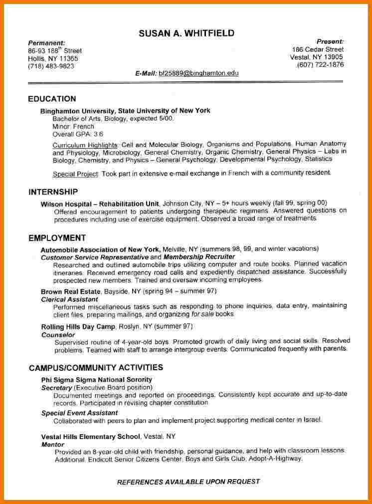 Job Resume Template For College Student - Templates