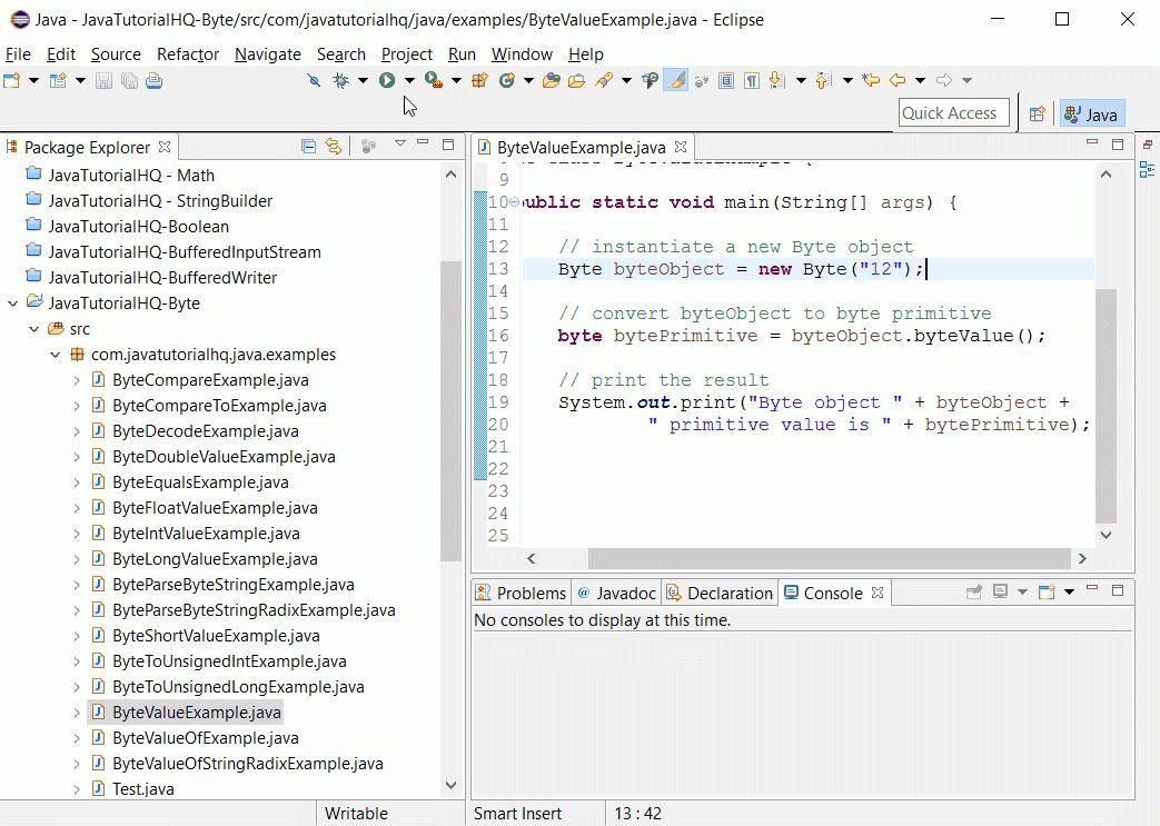 Java Byte byteValue() method example