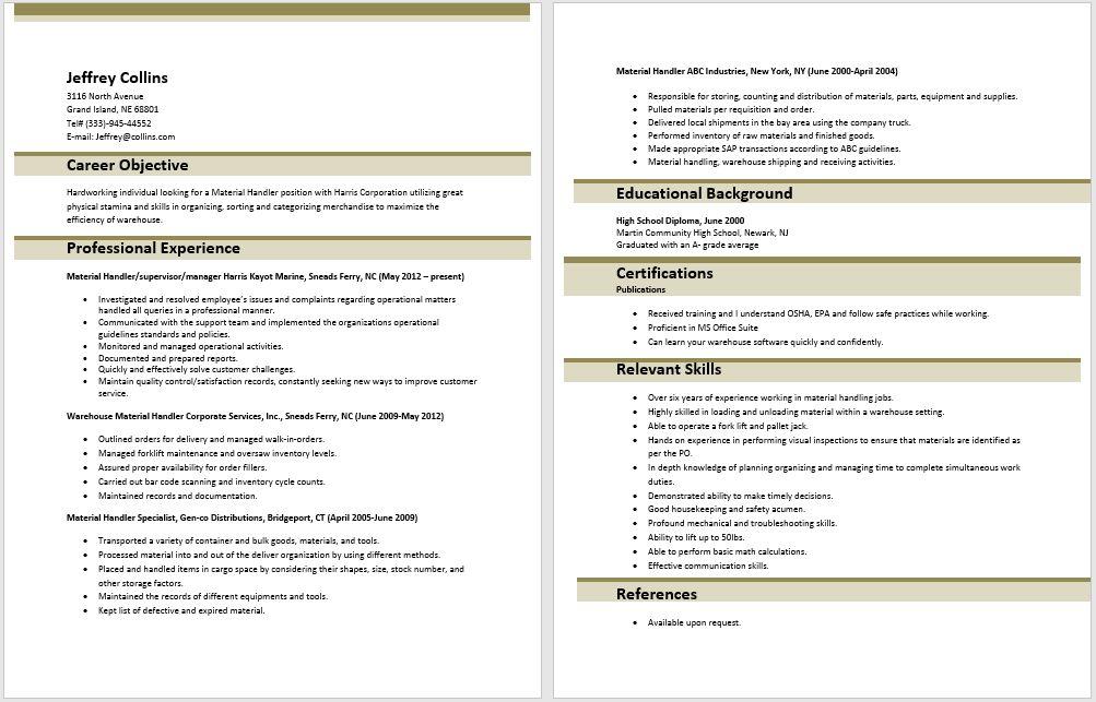 10 Material Handler Resume Sample - SampleBusinessResume.com ...