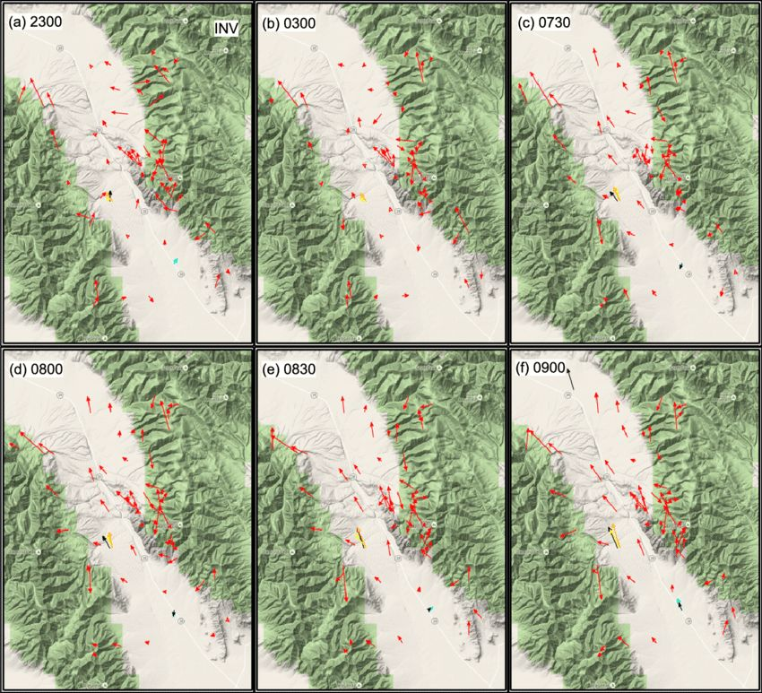 FIG. 9. Ten-minute average wind vector maps for INV example at (a ...