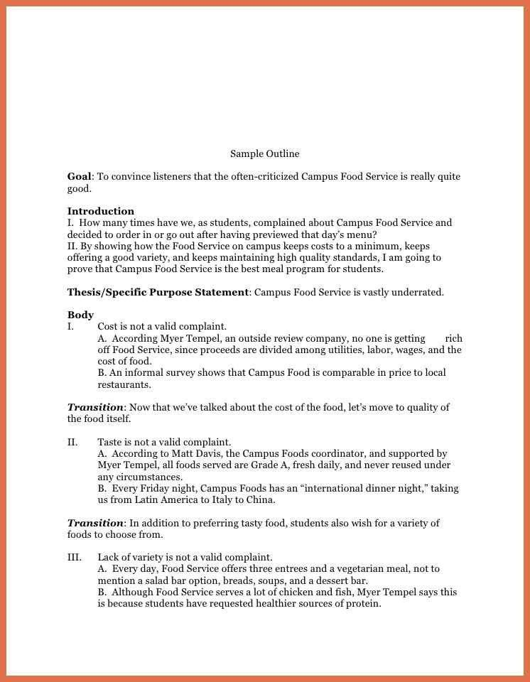 Speech Outline Template. Self Perception Speech Keyword Outline ...