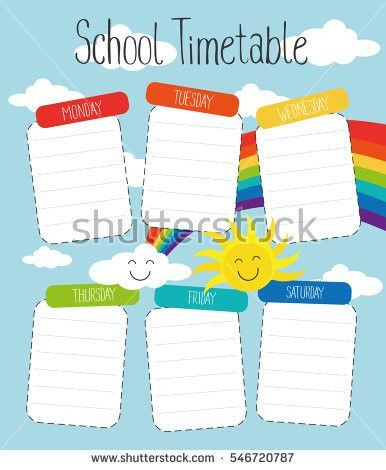 School Timetable Template Poster Note Book Stock Vector 546720787 ...