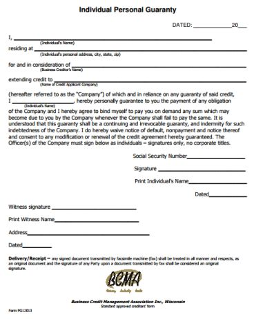 Personal Guarantee Form Template 555 | Legal Forms | Pinterest ...