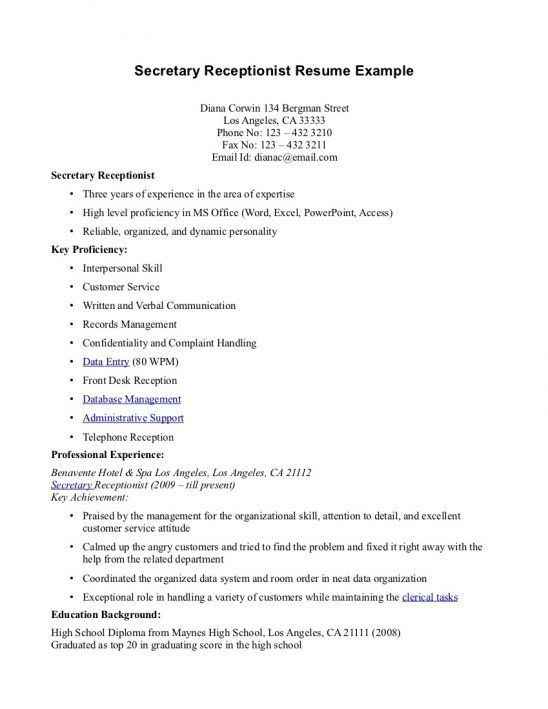 sample resume for receptionist australia receptionist resume ...