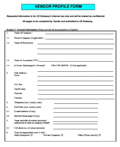 Vendor Profile Form Template – Free Sample Templates