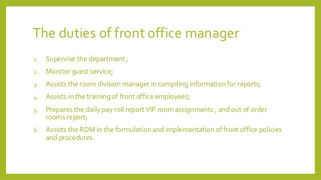 Front Office Department Design By Austin