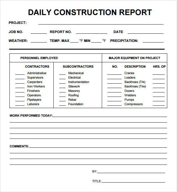 daily construction reports