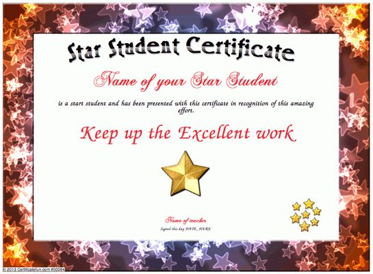 star certificate templates
