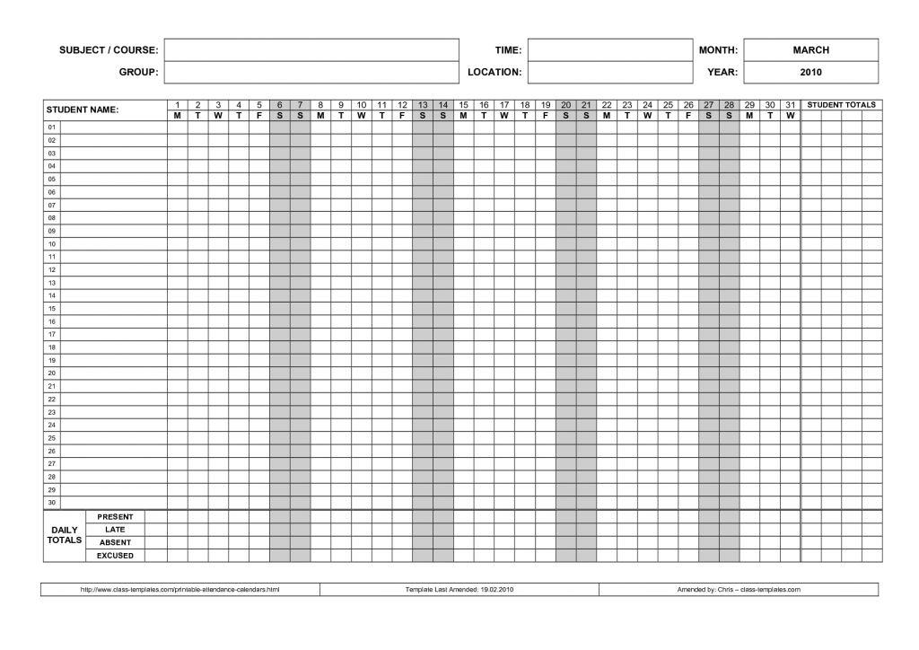Employee Attendance Record Template Home School Record : Masir