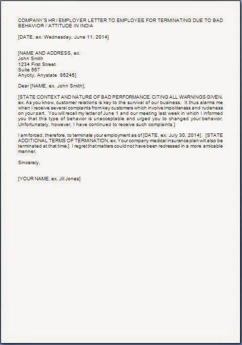 Employee Termination Letter format Sample | citehrblog