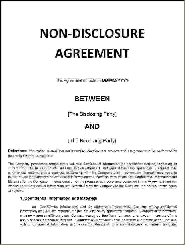 5+ non disclosure agreement template freeReport Template Document ...