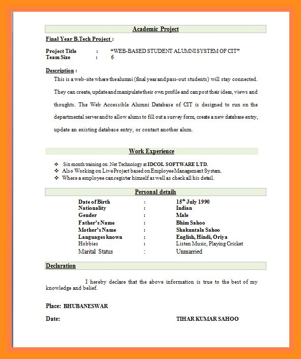 resume format pdf resume template for fresher 10 free word excel