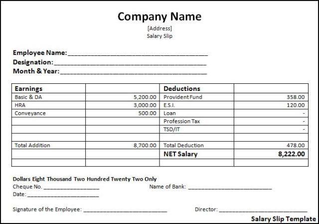 Salary Slip Template | Free Word Templates