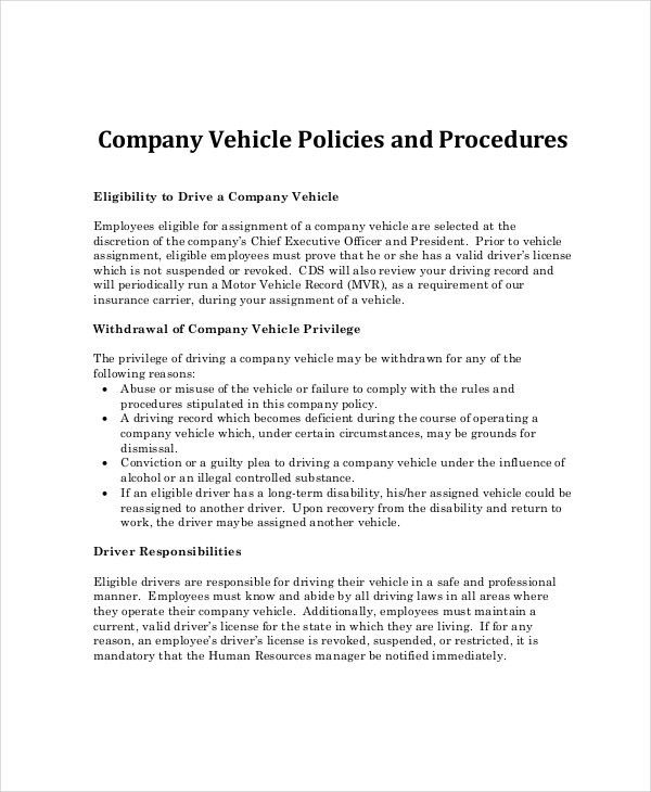 Company Policy Template - 6+ Free PDF Documents Download | Free ...