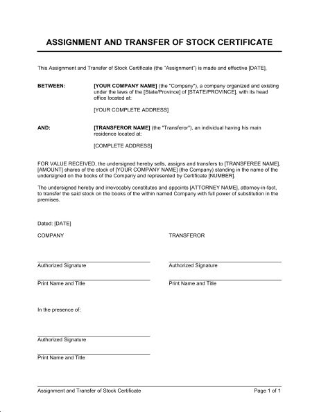 Assignment and Transfer of Stock Certificate - Template & Sample ...