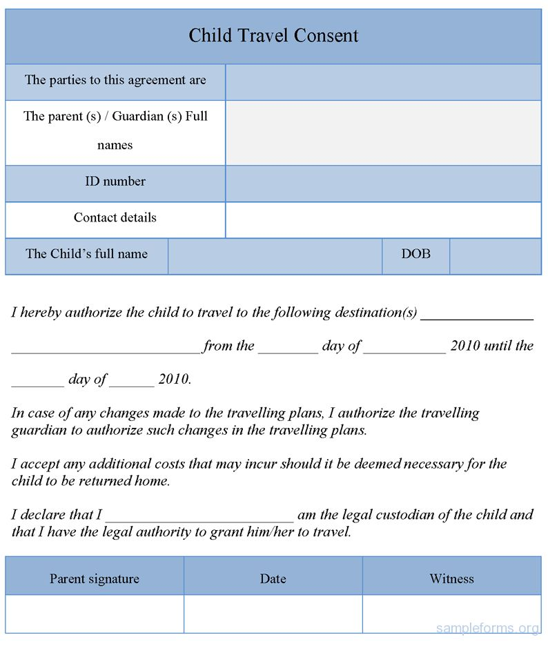 Child Travel Consent Form, Sample Child Travel Consent Form ...
