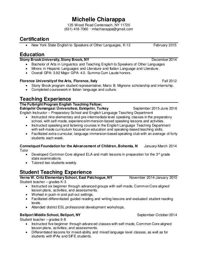 CHIARAPPA, MICHELLE 2016 Teaching Resume