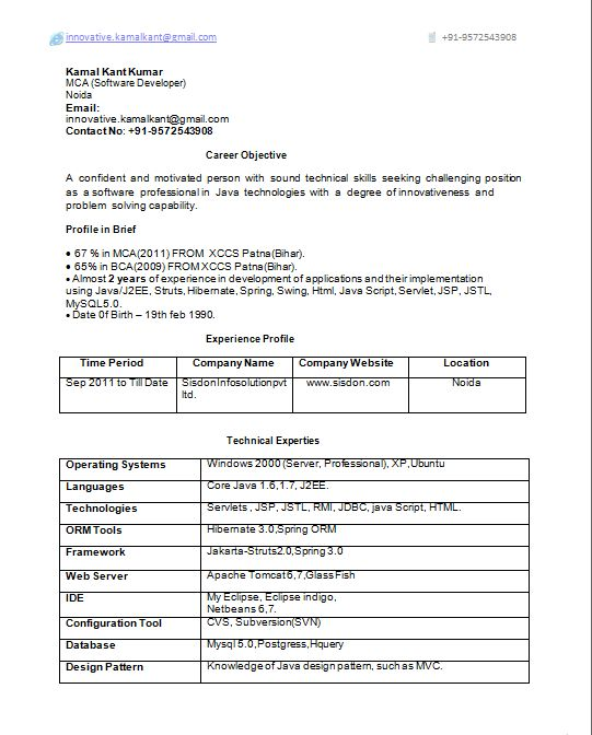 Appealing 1 Year Experience Resume Format For Java Developer 82 ...
