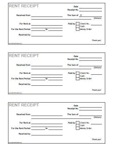 Rent Receipt - Free Printable - MyFreePrintable.com