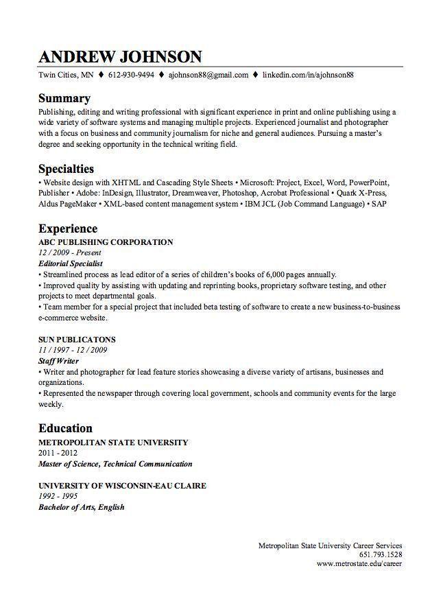 Linkedin resume [template.billybullock.us]