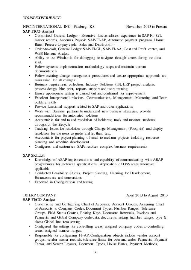 sap analyst resume sap resume template sap fico resume sample
