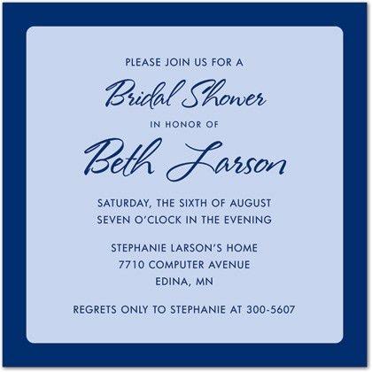 Medium Blue Border Blue Invitation Wedding Shower Invitations, 23857