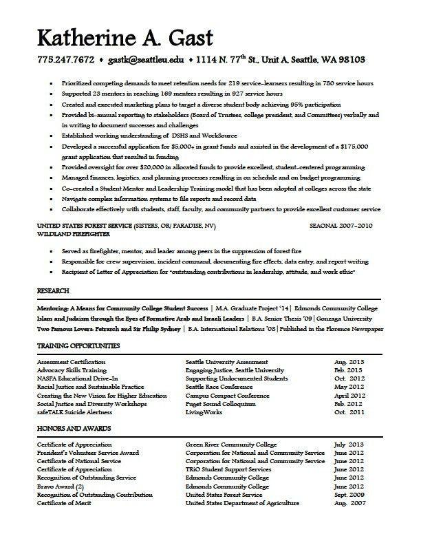 student affairs resume samples career center human development