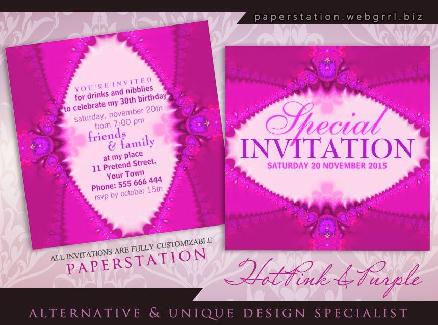 Purple & Hot Pink Party Invitations specially for the girls