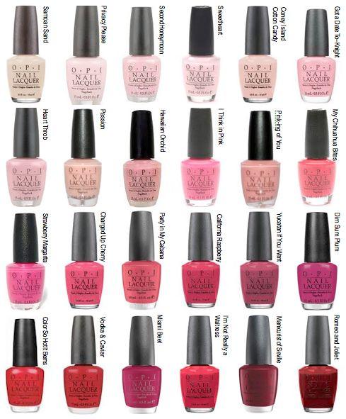 Top Nail Polish Colours: OPI Nail Polish (Most Popular Colors Chart)