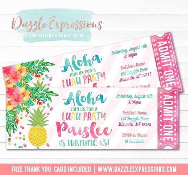 Printable Pineapple Luau Birthday Ticket Invitation - Watercolor ...