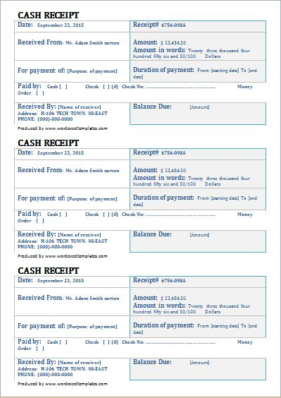 Cash Receipt Template for Word | Word & Excel Templates