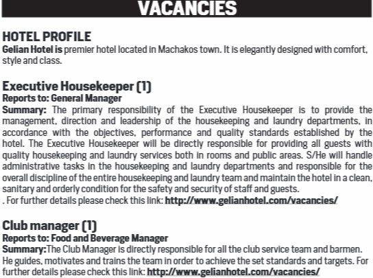 2017 Gelian Hotel Machakos Job Vacancies - JobSpot Kenya