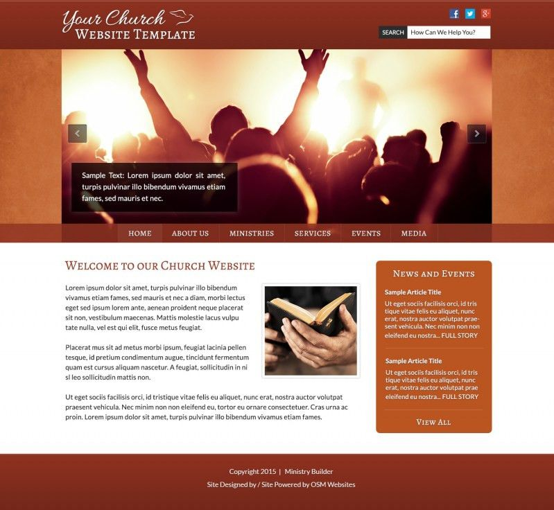 Free Templates For Ministry & Non Profit Websites | OSM Websites