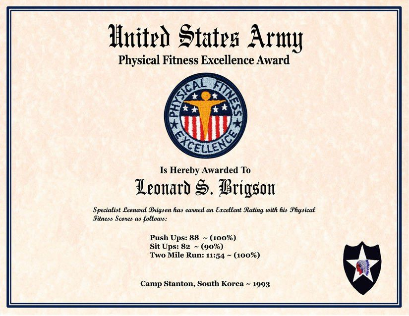 Individual Award Certificate, Military Training, Unit Awards