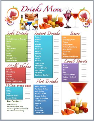 Drinks Bar Menu Template | Microsoft Word Templates