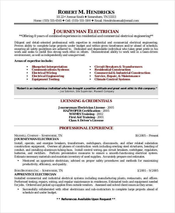 Electrician Resume Template   5+Free Word, Excel, PDF Documents .  Journeyman Electrician Resume Examples