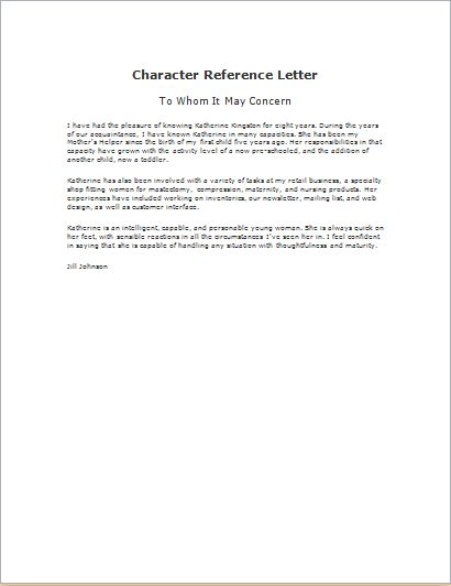 Character Reference Letter Template .doc | Word & Excel Templates