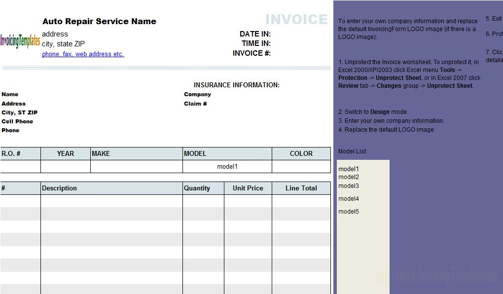 Auto Repair Invoicing Sample (2)