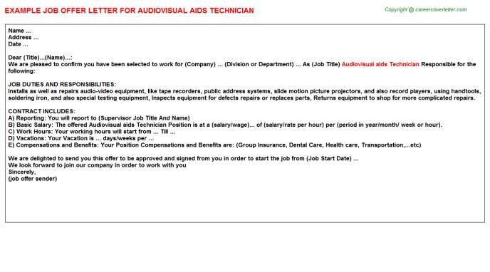 Audiovisual Aids Technician Offer Letter